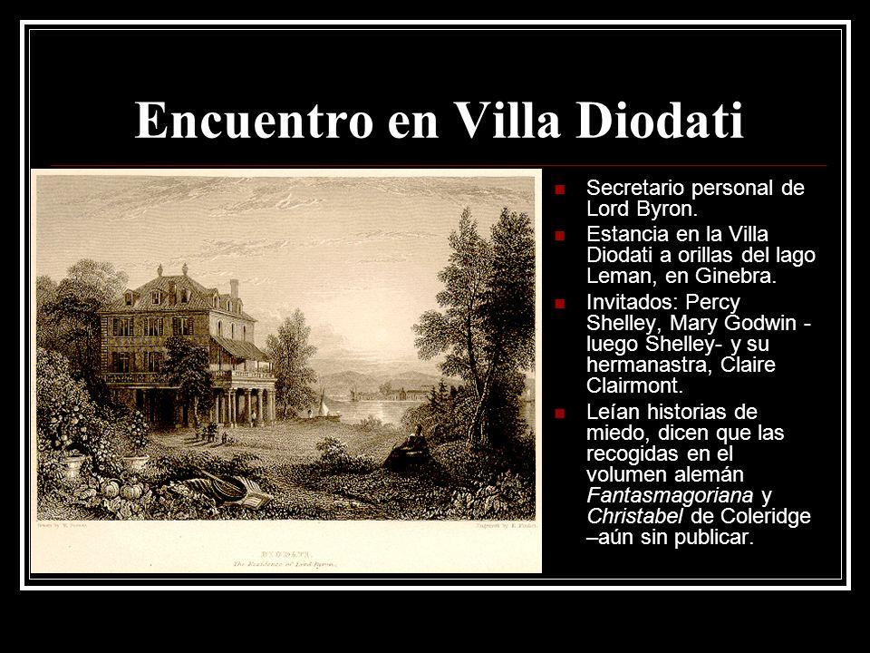 Encuentro en Villa Diodati Secretario personal de Lord Byron. Estancia en la Villa Diodati a orillas del lago Leman, en Ginebra. Invitados: Percy Shel