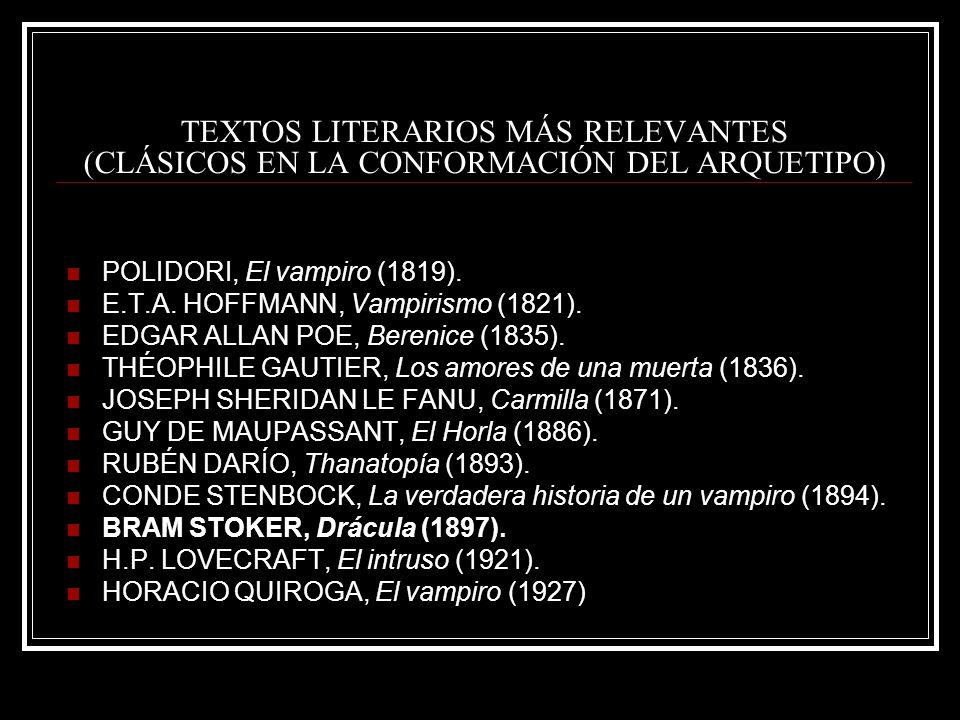 TEXTOS LITERARIOS MÁS RELEVANTES (CLÁSICOS EN LA CONFORMACIÓN DEL ARQUETIPO) POLIDORI, El vampiro (1819). E.T.A. HOFFMANN, Vampirismo (1821). EDGAR AL