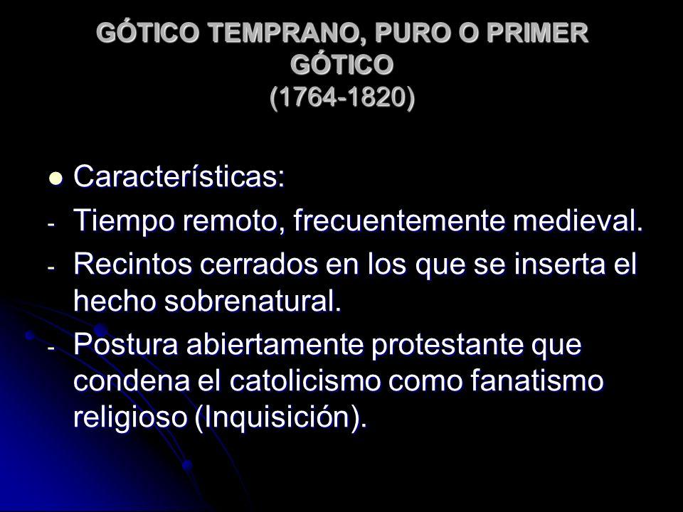 GÓTICO TEMPRANO, PURO O PRIMER GÓTICO (1764-1820) Características: Características: - Tiempo remoto, frecuentemente medieval. - Recintos cerrados en l