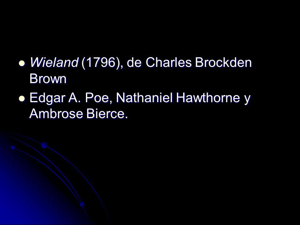 Wieland (1796), de Charles Brockden Brown Wieland (1796), de Charles Brockden Brown Edgar A. Poe, Nathaniel Hawthorne y Ambrose Bierce. Edgar A. Poe,