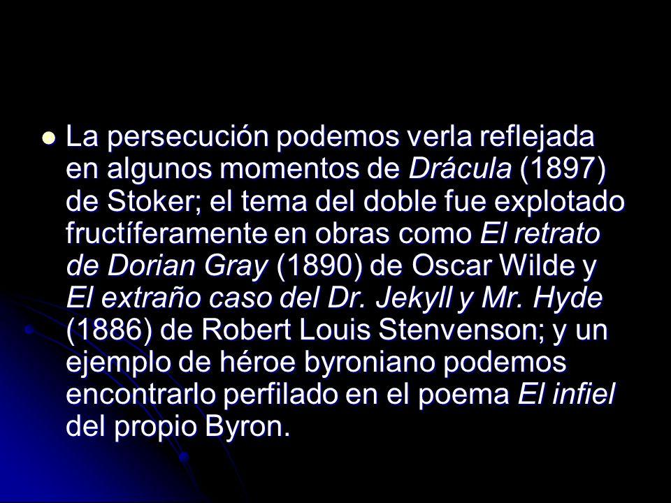 La persecución podemos verla reflejada en algunos momentos de Drácula (1897) de Stoker; el tema del doble fue explotado fructíferamente en obras como