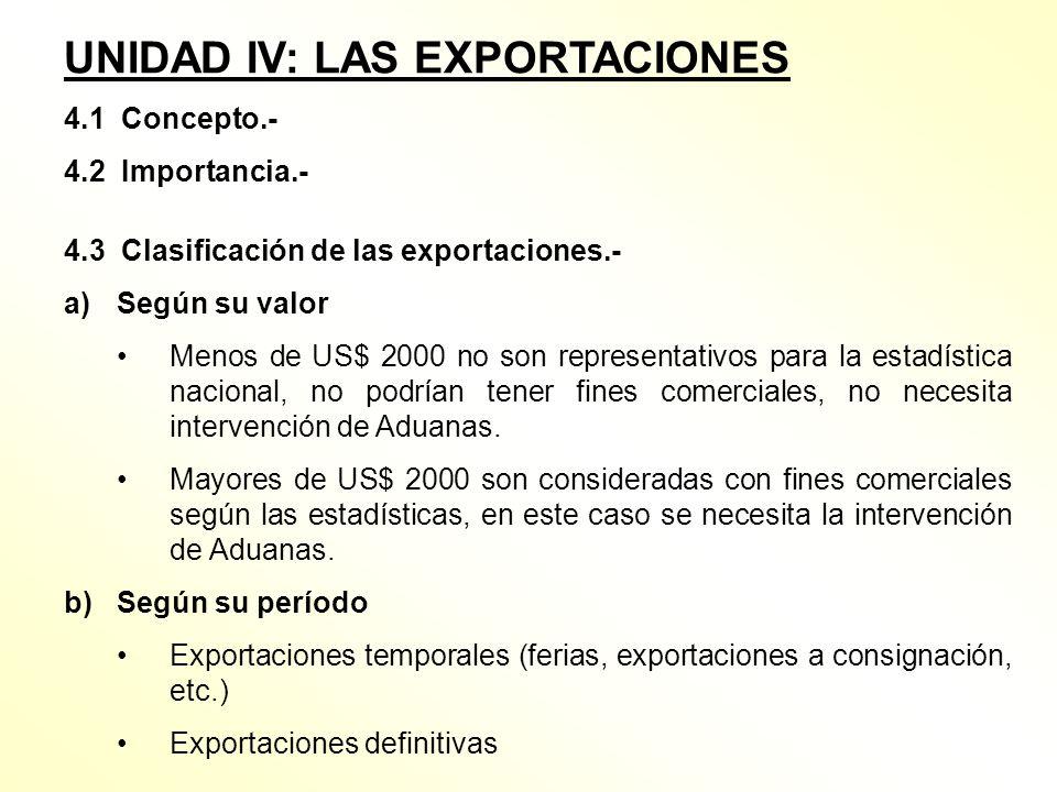 UNIDAD IV: LAS EXPORTACIONES 4.1 Concepto.- 4.2 Importancia.- 4.3 Clasificación de las exportaciones.- a)Según su valor Menos de US$ 2000 no son repre