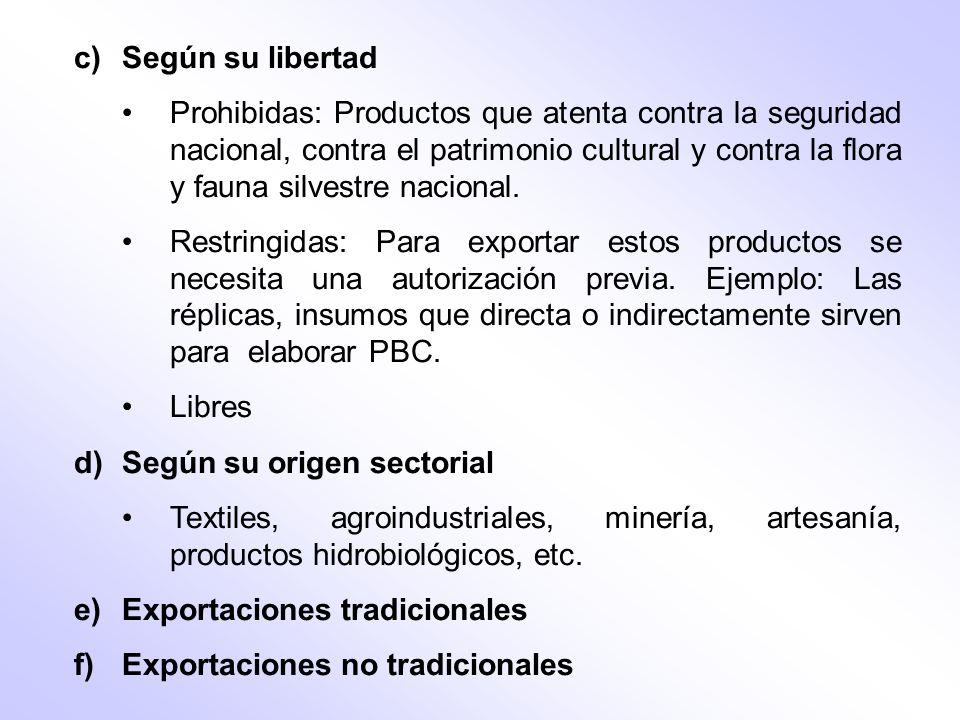 c)Según su libertad Prohibidas: Productos que atenta contra la seguridad nacional, contra el patrimonio cultural y contra la flora y fauna silvestre n