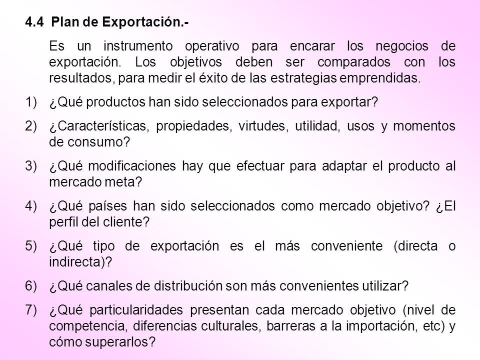 4.4 Plan de Exportación.- Es un instrumento operativo para encarar los negocios de exportación. Los objetivos deben ser comparados con los resultados,
