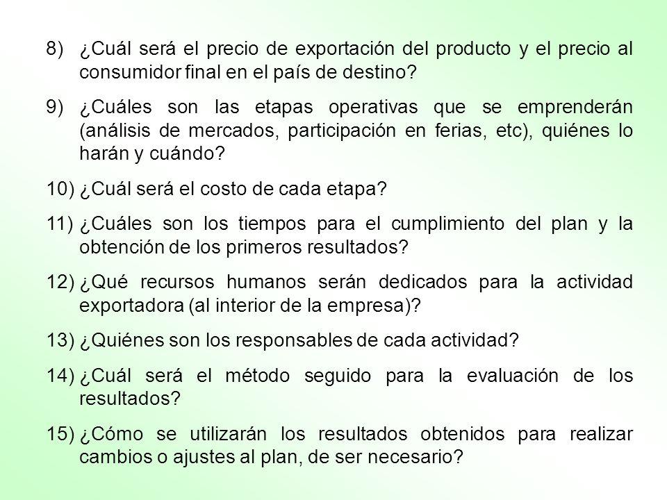 8)¿Cuál será el precio de exportación del producto y el precio al consumidor final en el país de destino? 9)¿Cuáles son las etapas operativas que se e