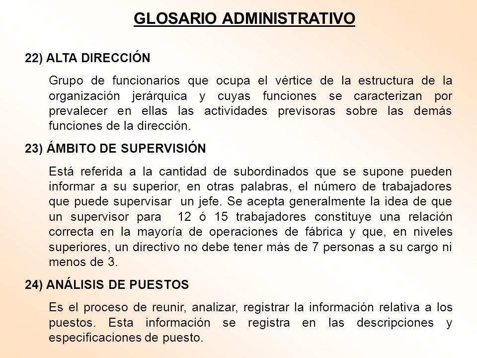 GLOSARIO ADMINISTRATIVO 22) ALTA DIRECCIÓN Grupo de funcionarios que ocupa el vértice de la estructura de la organización jerárquica y cuyas funciones