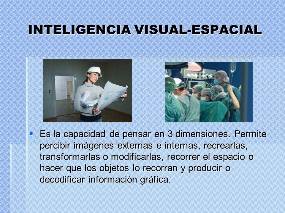 INTELIGENCIA VISUAL-ESPACIAL Es la capacidad de pensar en 3 dimensiones. Permite percibir imágenes externas e internas, recrearlas, transformarlas o m