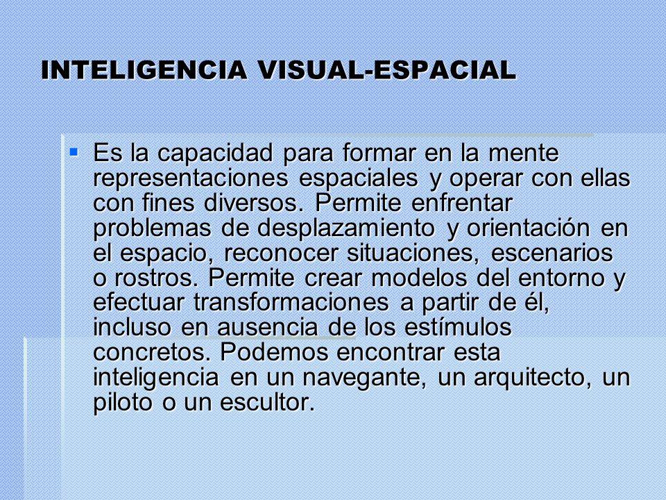 INTELIGENCIA VISUAL-ESPACIAL Es la capacidad para formar en la mente representaciones espaciales y operar con ellas con fines diversos. Permite enfren
