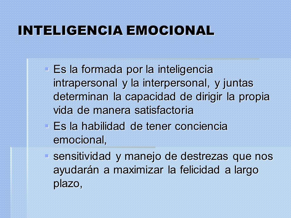 INTELIGENCIA EMOCIONAL Es la formada por la inteligencia intrapersonal y la interpersonal, y juntas determinan la capacidad de dirigir la propia vida