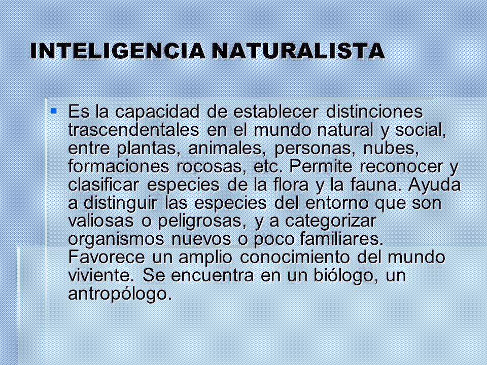 INTELIGENCIA NATURALISTA Es la capacidad de establecer distinciones trascendentales en el mundo natural y social, entre plantas, animales, personas, n