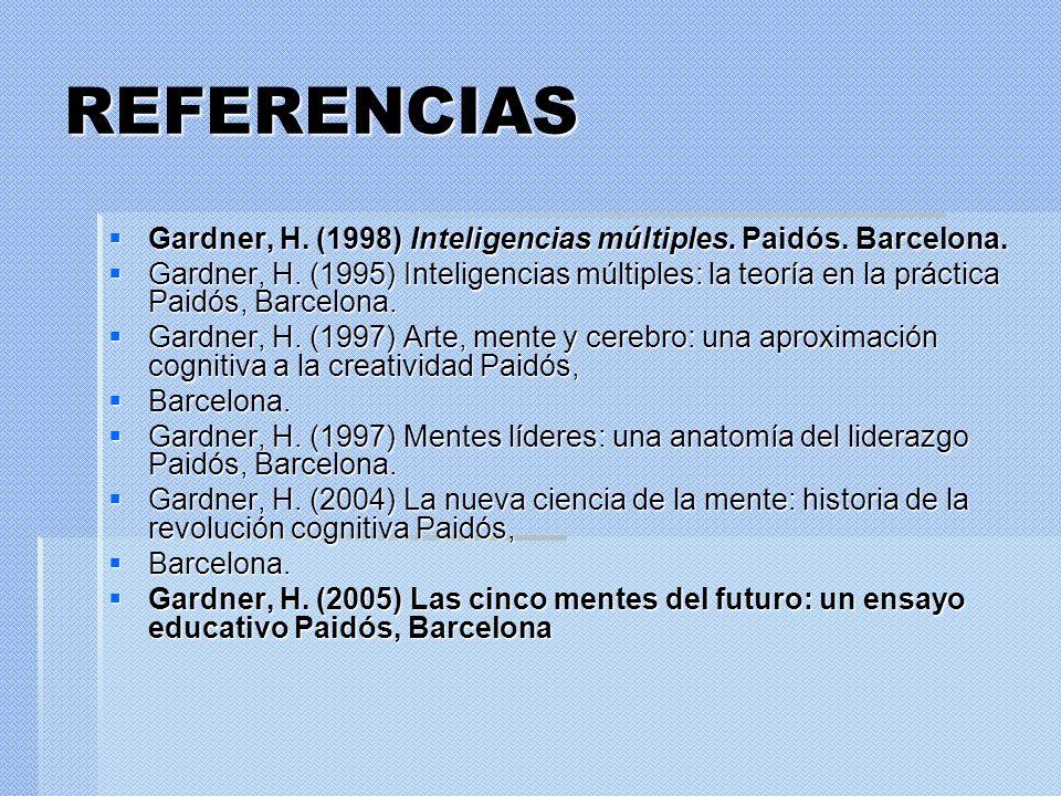REFERENCIAS Gardner, H. (1998) Inteligencias múltiples. Paidós. Barcelona. Gardner, H. (1998) Inteligencias múltiples. Paidós. Barcelona. Gardner, H.