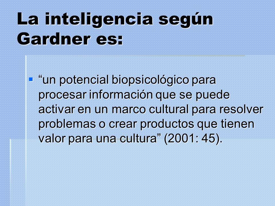 La inteligencia según Gardner es: un potencial biopsicológico para procesar información que se puede activar en un marco cultural para resolver proble