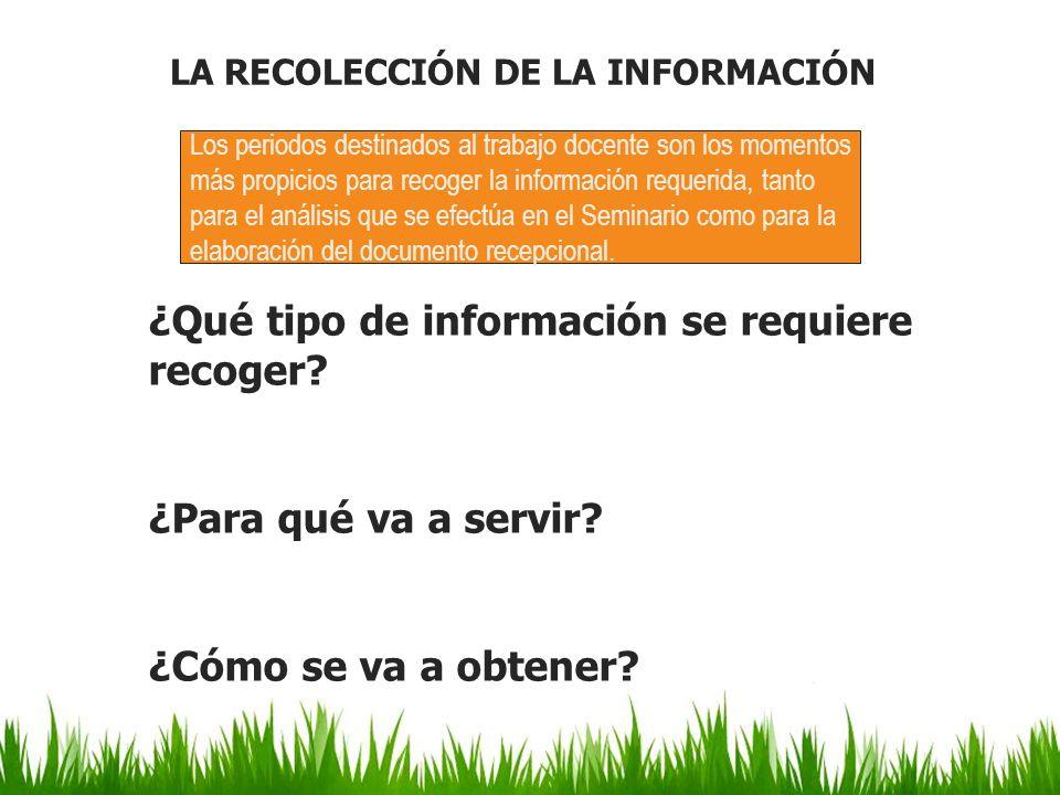 LA RECOLECCIÓN DE LA INFORMACIÓN ¿Qué tipo de información se requiere recoger? ¿Para qué va a servir? ¿Cómo se va a obtener? Los periodos destinados a