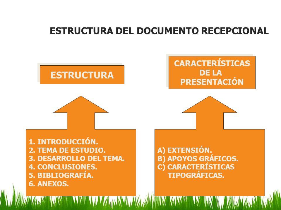 ESTRUCTURA DEL DOCUMENTO RECEPCIONAL 1. INTRODUCCIÓN. 2. TEMA DE ESTUDIO. 3. DESARROLLO DEL TEMA. 4. CONCLUSIONES. 5. BIBLIOGRAFÍA. 6. ANEXOS. A) EXTE