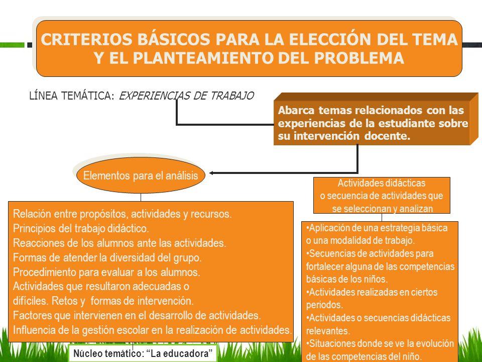CRITERIOS BÁSICOS PARA LA ELECCIÓN DEL TEMA Y EL PLANTEAMIENTO DEL PROBLEMA CRITERIOS BÁSICOS PARA LA ELECCIÓN DEL TEMA Y EL PLANTEAMIENTO DEL PROBLEMA LÍNEA TEMÁTICA: ANÁLISIS DE CASOS Se analizan por lo menos dos casos que hayan sido identificados en el grupo con el que trabajan las estudiantes.