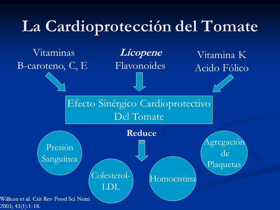 La Cardioprotección del Tomate Efecto Sinérgico Cardioprotectivo Del Tomate Vitaminas B-caroteno, C, E Licopene Flavonoides Presión Sanguínea Colester