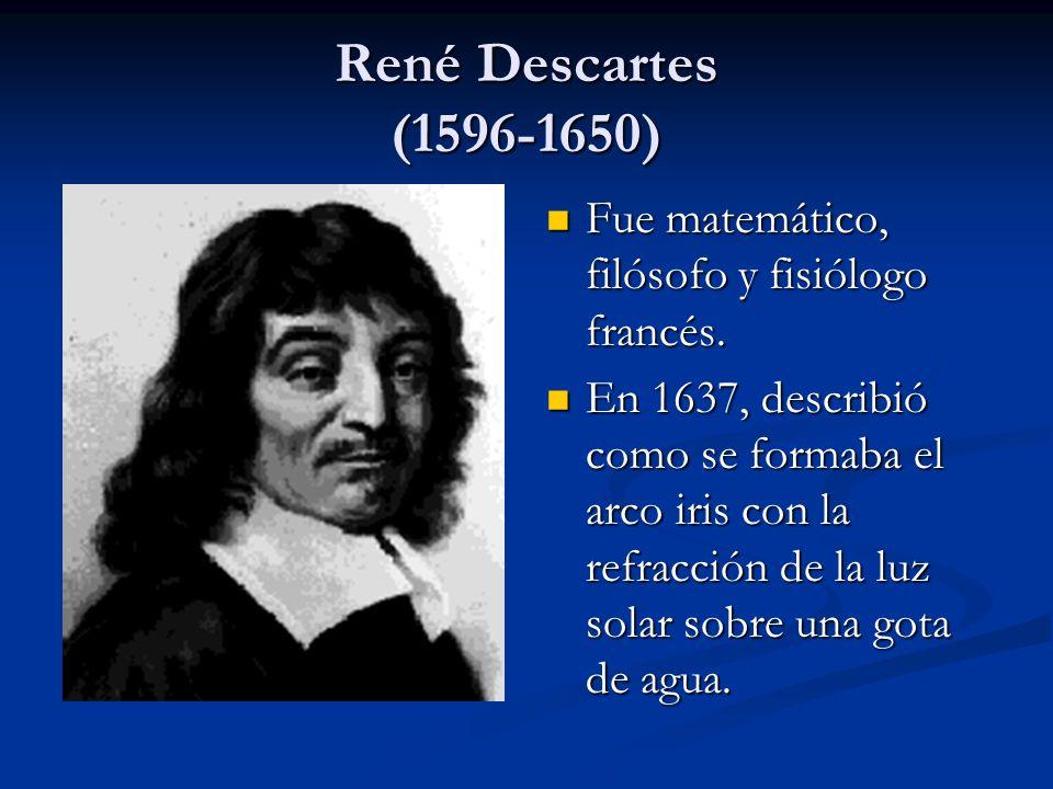 René Descartes (1596-1650) Fue matemático, filósofo y fisiólogo francés. En 1637, describió como se formaba el arco iris con la refracción de la luz s