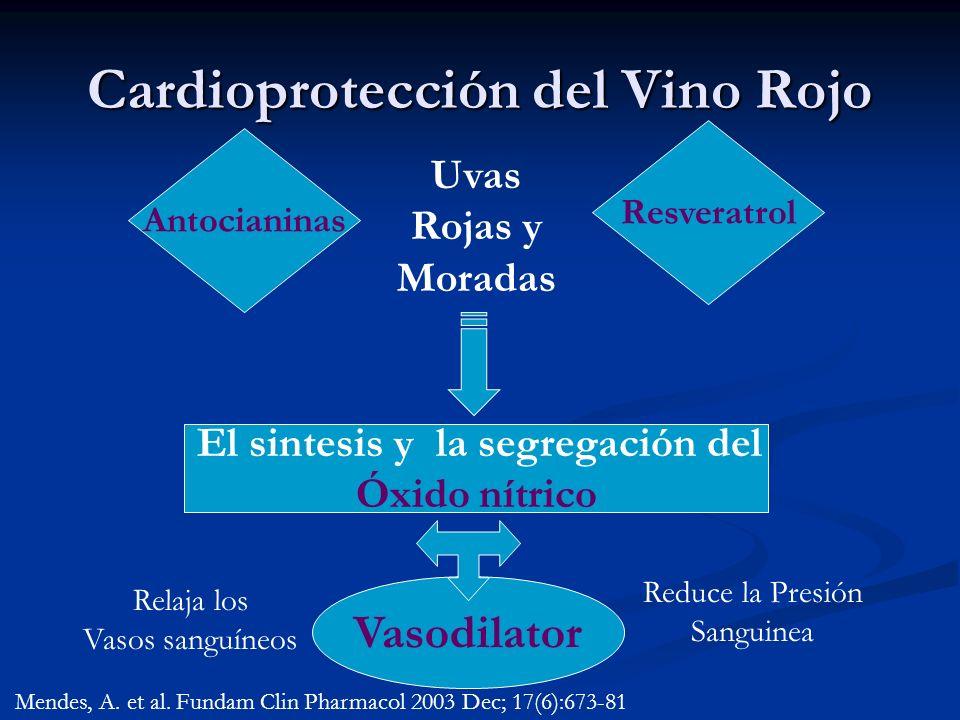 Cardioprotección del Vino Rojo Antocianinas Resveratrol Uvas Rojas y Moradas El sintesis y la segregación del Óxido nítrico Vasodilator Reduce la Pres