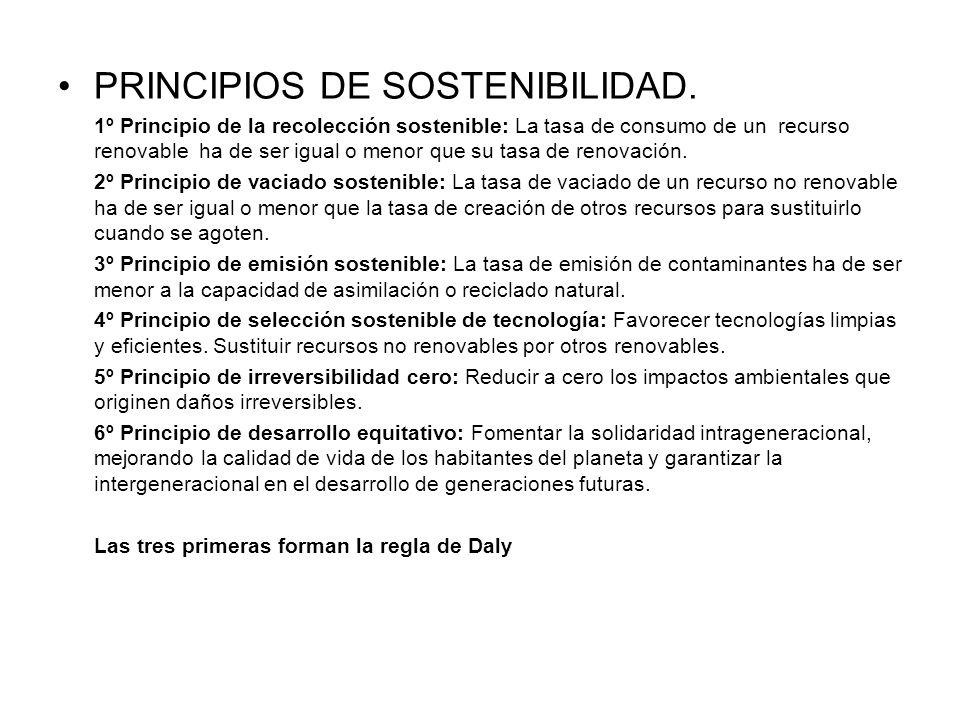 PRINCIPIOS DE SOSTENIBILIDAD. 1º Principio de la recolección sostenible: La tasa de consumo de un recurso renovable ha de ser igual o menor que su tas