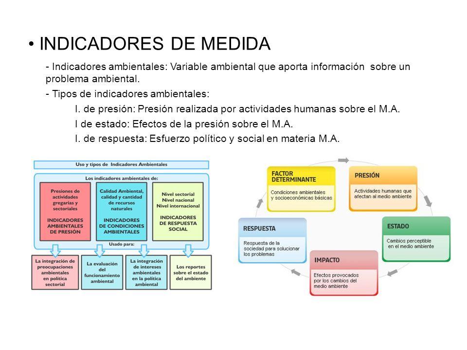 INDICADORES DE MEDIDA - Indicadores ambientales: Variable ambiental que aporta información sobre un problema ambiental. - Tipos de indicadores ambient