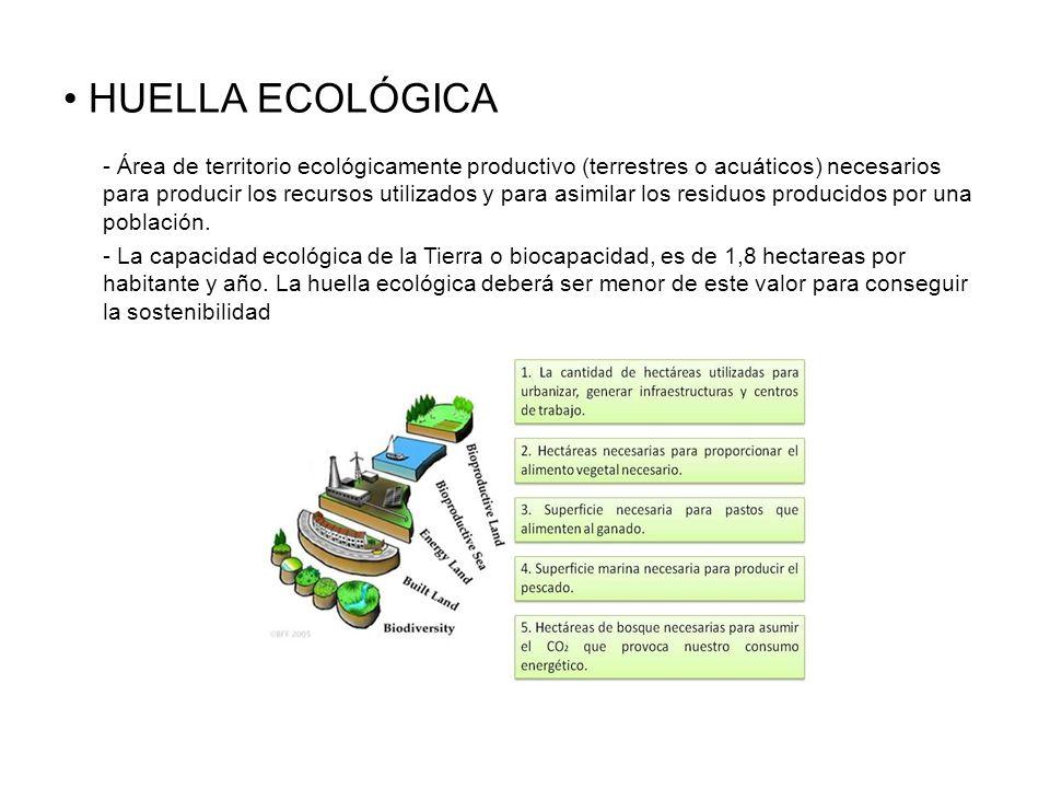 HUELLA ECOLÓGICA - Área de territorio ecológicamente productivo (terrestres o acuáticos) necesarios para producir los recursos utilizados y para asimi