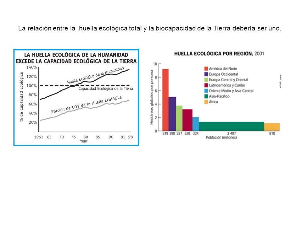 La relación entre la huella ecológica total y la biocapacidad de la Tierra debería ser uno.