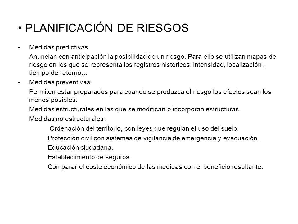 PLANIFICACIÓN DE RIESGOS -Medidas predictivas. Anuncian con anticipación la posibilidad de un riesgo. Para ello se utilizan mapas de riesgo en los que