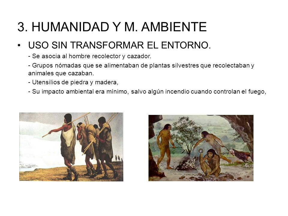 3. HUMANIDAD Y M. AMBIENTE USO SIN TRANSFORMAR EL ENTORNO. - Se asocia al hombre recolector y cazador. - Grupos nómadas que se alimentaban de plantas