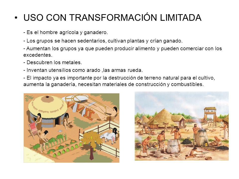 USO CON TRANSFORMACIÓN LIMITADA - Es el hombre agrícola y ganadero. - Los grupos se hacen sedentarios, cultivan plantas y crían ganado. - Aumentan los