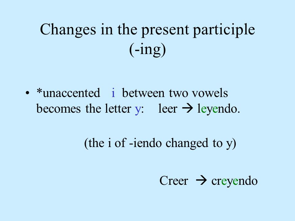 Changes in the present participle (-ing) *unaccented i between two vowels becomes the letter y: leer leyendo. (the i of -iendo changed to y) Creer cre