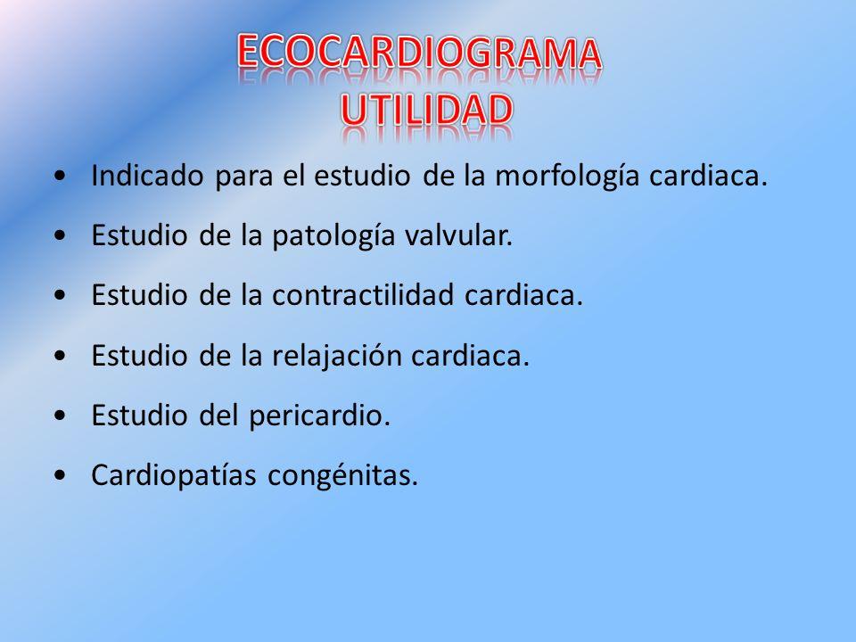 Indicado para el estudio de la morfología cardiaca. Estudio de la patología valvular. Estudio de la contractilidad cardiaca. Estudio de la relajación