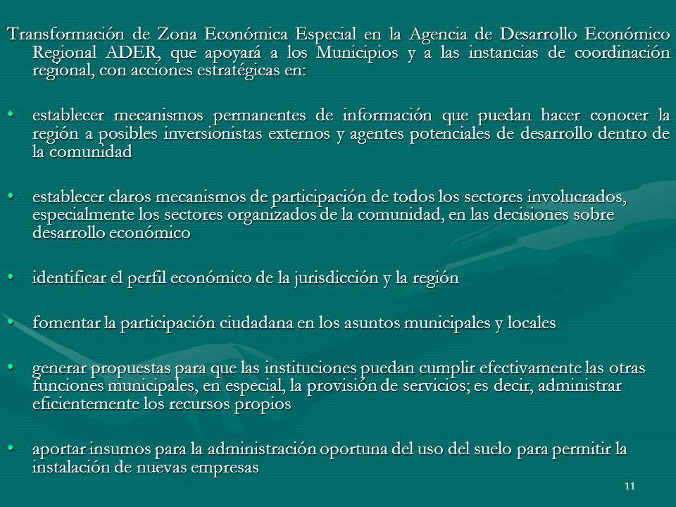 11 Transformación de Zona Económica Especial en la Agencia de Desarrollo Económico Regional ADER, que apoyará a los Municipios y a las instancias de c