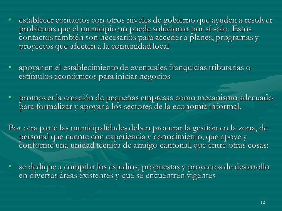 12 establecer contactos con otros niveles de gobierno que ayuden a resolver problemas que el municipio no puede solucionar por sí solo. Estos contacto