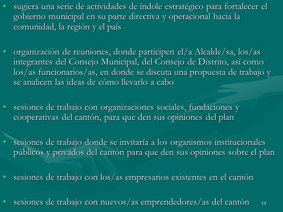 13 sugiera una serie de actividades de índole estratégico para fortalecer el gobierno municipal en su parte directiva y operacional hacia la comunidad