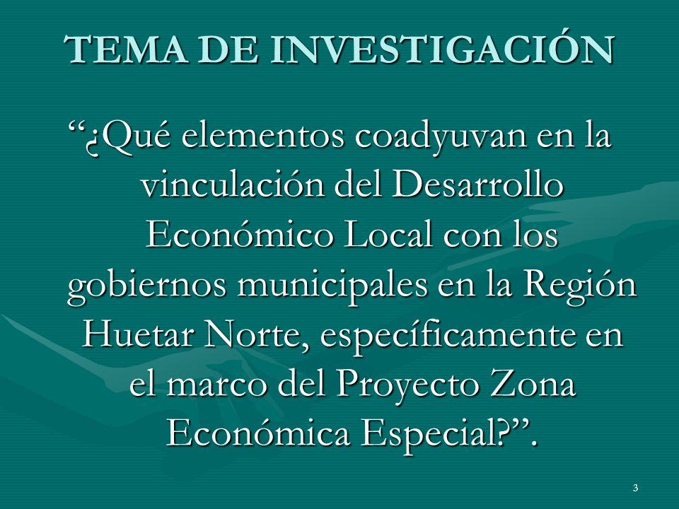 3 TEMA DE INVESTIGACIÓN ¿Qué elementos coadyuvan en la vinculación del Desarrollo Económico Local con los gobiernos municipales en la Región Huetar No
