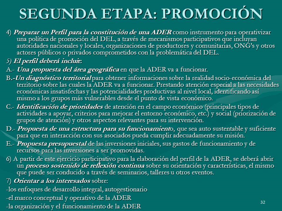 32 SEGUNDA ETAPA: PROMOCIÓN 4) Preparar un Perfil para la constitución de una ADER como instrumento para operativizar una política de promoción del DE