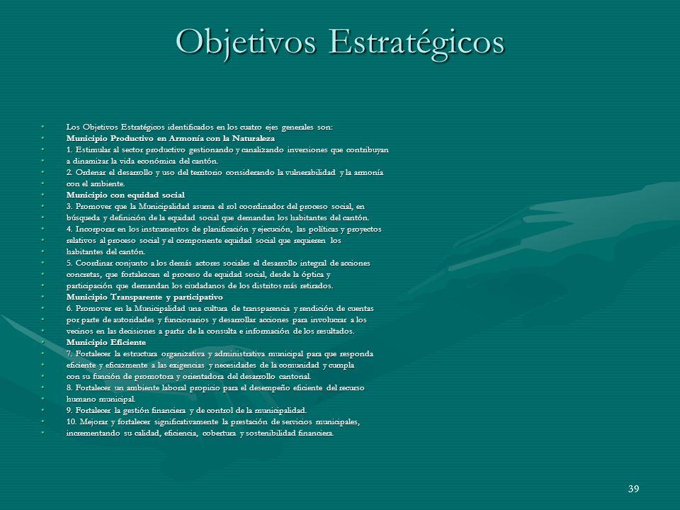 39 Objetivos Estratégicos Los Objetivos Estratégicos identificados en los cuatro ejes generales son:Los Objetivos Estratégicos identificados en los cu
