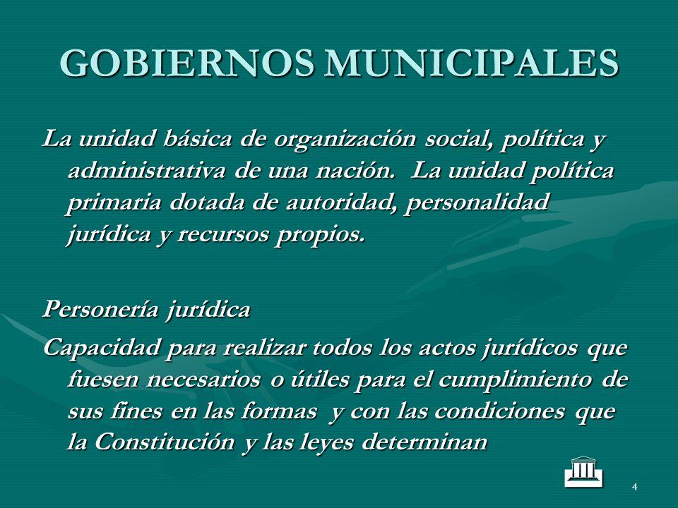 4 GOBIERNOS MUNICIPALES La unidad básica de organización social, política y administrativa de una nación. La unidad política primaria dotada de autori