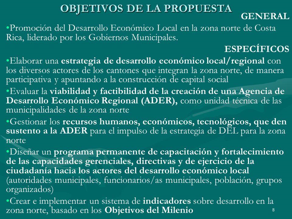 8 OBJETIVOS DE LA PROPUESTA GENERAL Promoción del Desarrollo Económico Local en la zona norte de Costa Rica, liderado por los Gobiernos Municipales. E
