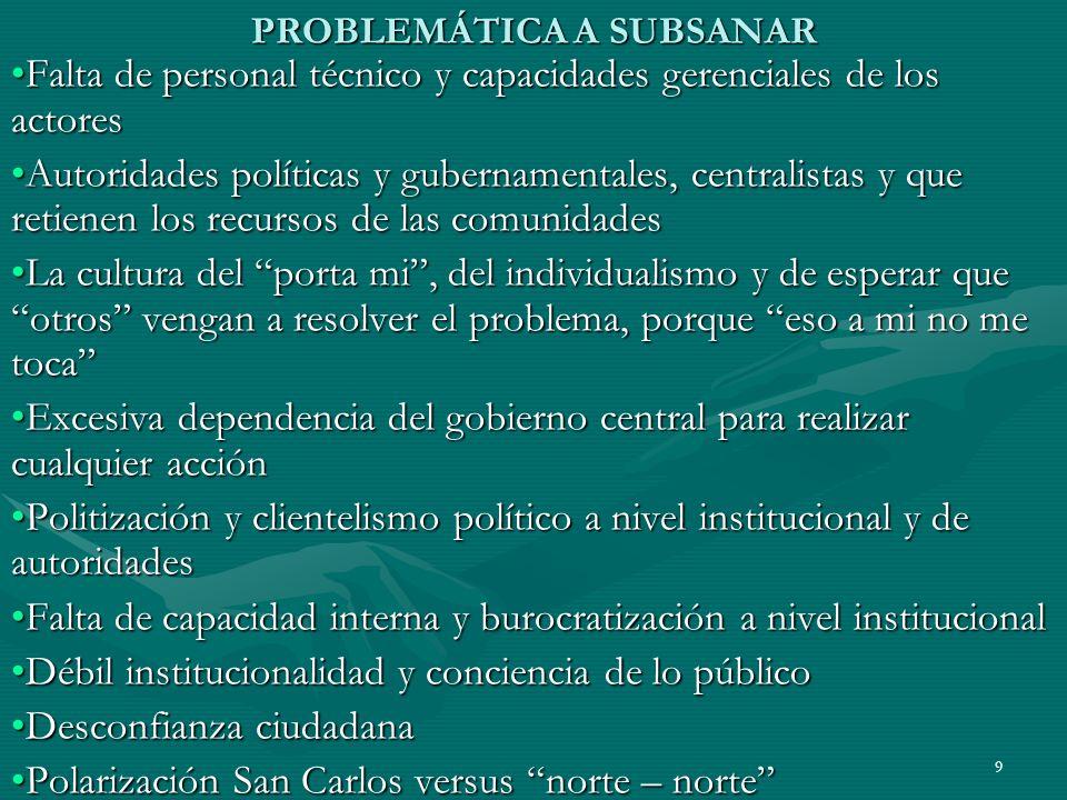 9 PROBLEMÁTICA A SUBSANAR Falta de personal técnico y capacidades gerenciales de los actoresFalta de personal técnico y capacidades gerenciales de los