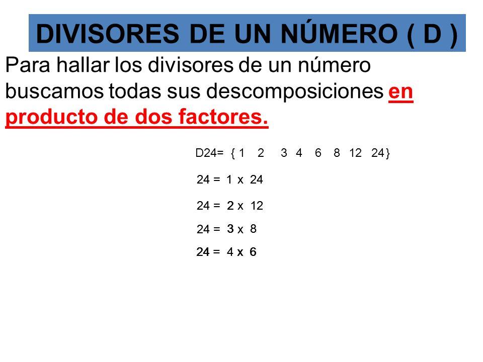 DIVISORES DE UN NÚMERO.(D) Son los números por los que al dividirlos el resto o resíduo es cero Ejemplo 24 : 1 864321 2 12 3468 24 Se escribe D24={1,