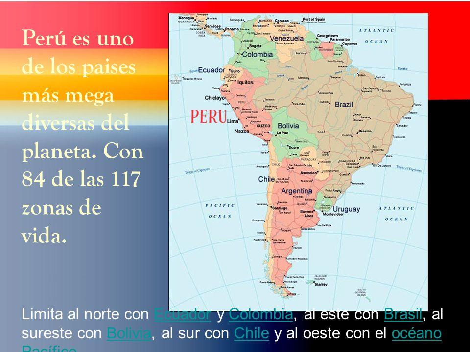 Limita al norte con Ecuador y Colombia, al este con Brasil, al sureste con Bolivia, al sur con Chile y al oeste con el océano Pacífico,EcuadorColombiaBrasilBoliviaChileocéano Pacífico Perú es uno de los paises más mega diversas del planeta.