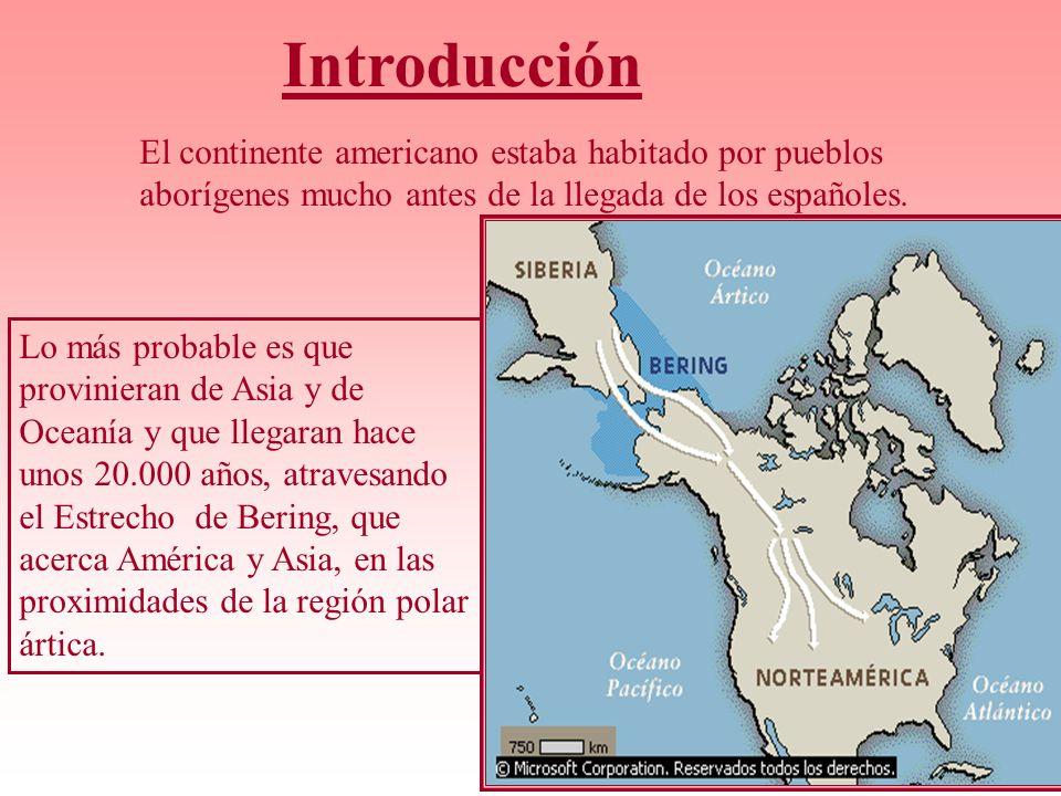 Introducción El continente americano estaba habitado por pueblos aborígenes mucho antes de la llegada de los españoles. Lo más probable es que provini