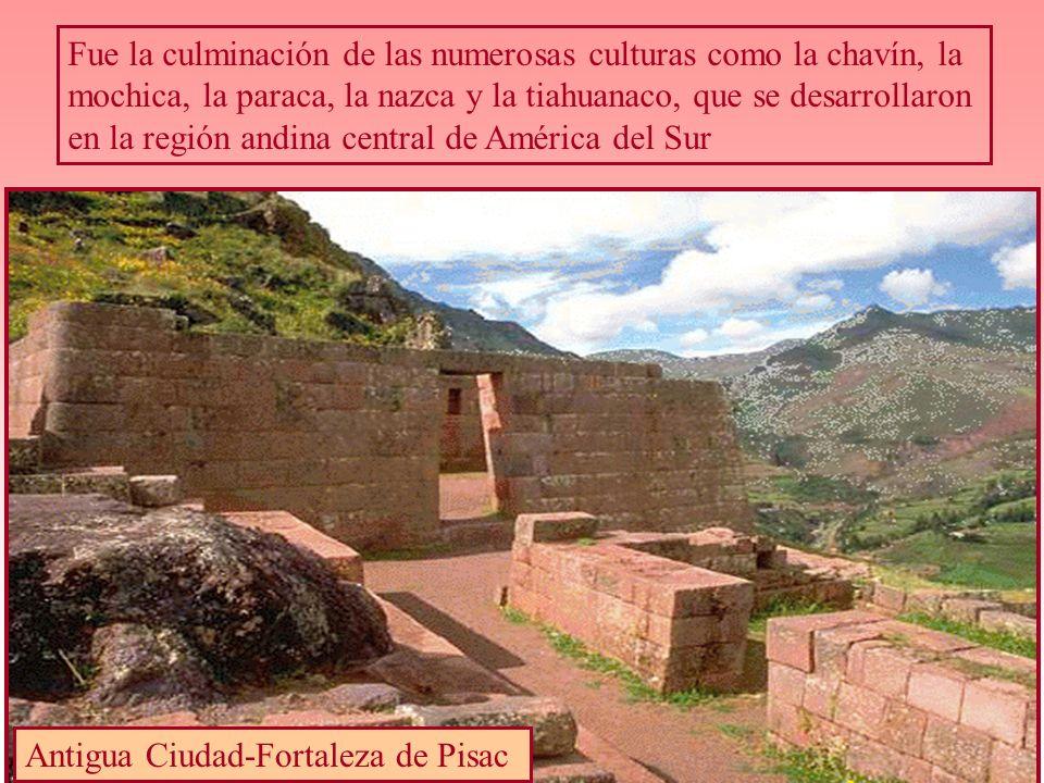 Fue la culminación de las numerosas culturas como la chavín, la mochica, la paraca, la nazca y la tiahuanaco, que se desarrollaron en la región andina