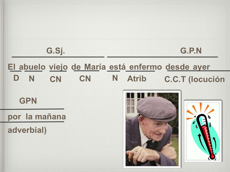 El abuelo viejo de María está enfermo desde ayer por la mañana G.Sj. G.P.N NCN N Atrib C.C.T (locución adverbial) GPN CN D