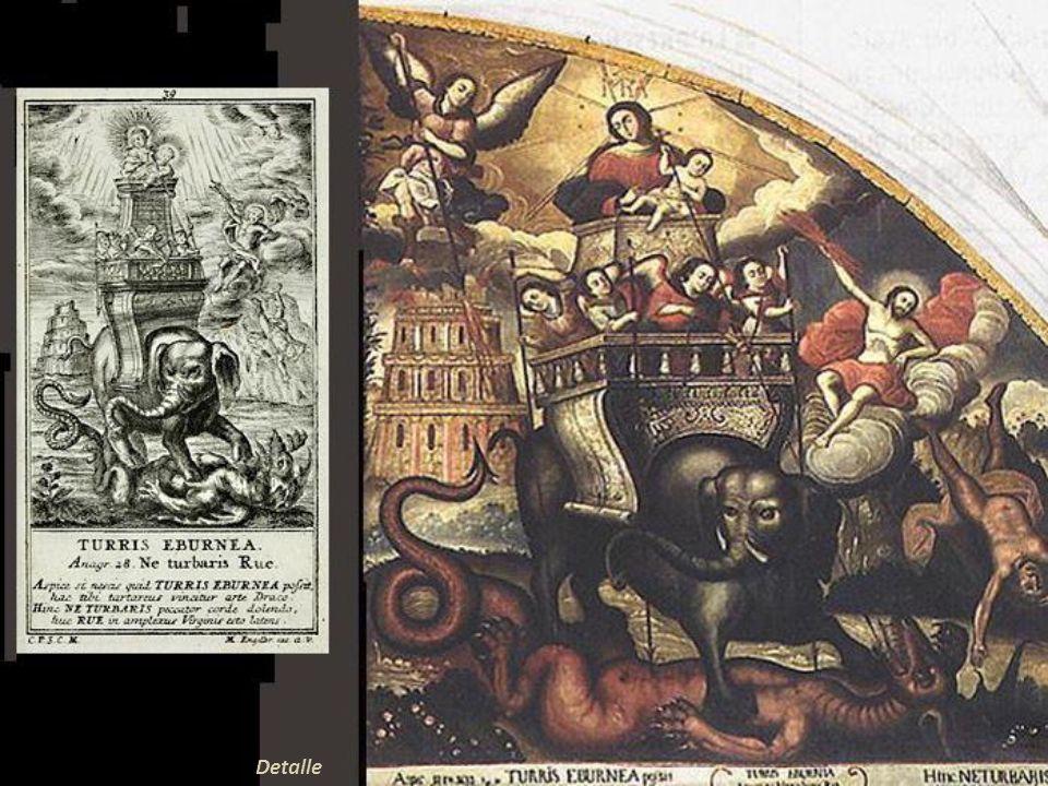 Es notorio que en esta obra Zapata tomó el grabado como referencia. El orante es el Chantre Diego Felipe de Barrio y Mendoza, cuyo escudo aparece a su