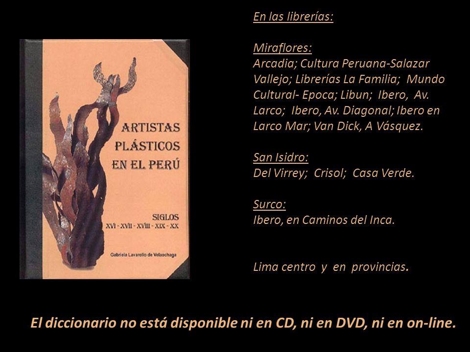 Artistas que figuran en el diccionario Carátula, escultura de Armando Varela Neyra Lima - Perú Representante de Ventas MARTA COUTO REVOLLEDO 441-3238