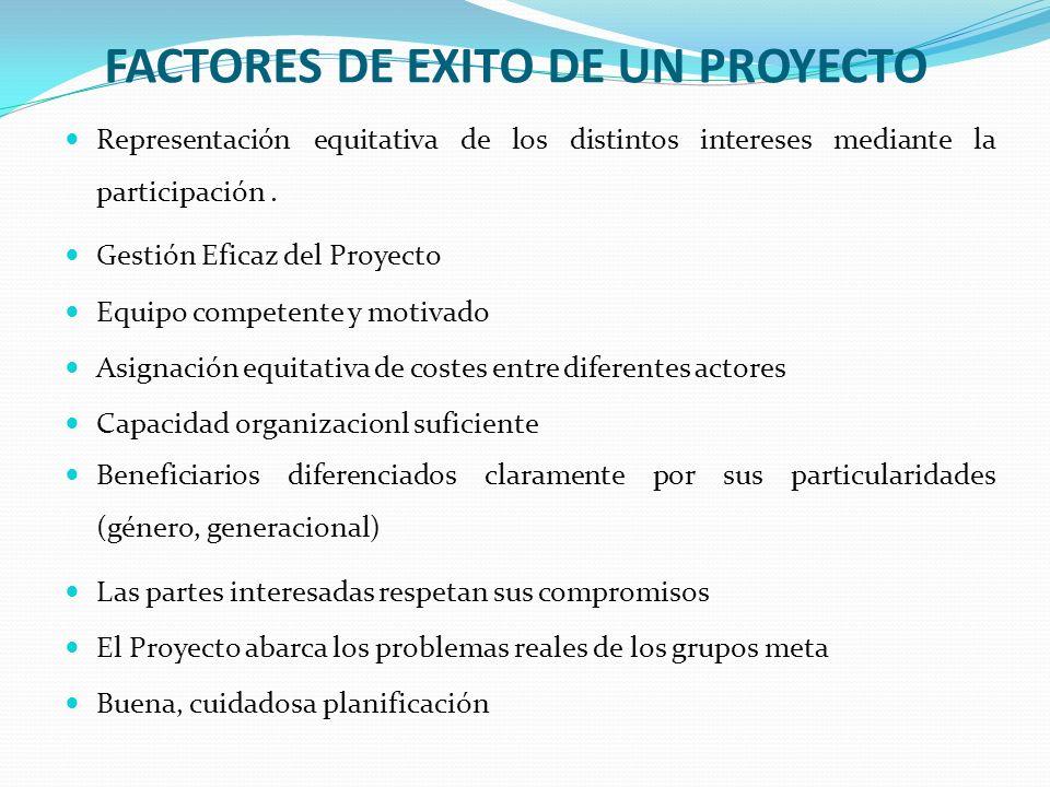 FACTORES DE EXITO DE UN PROYECTO Representación equitativa de los distintos intereses mediante la participación. Gestión Eficaz del Proyecto Equipo co