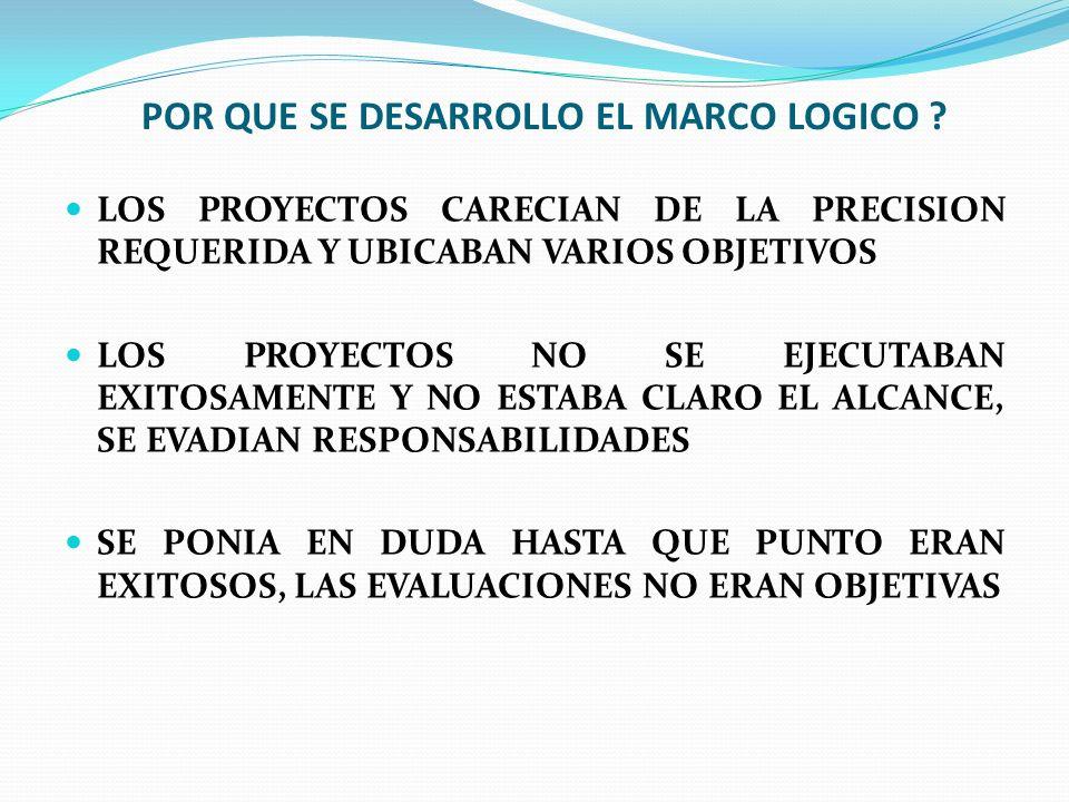 POR QUE SE DESARROLLO EL MARCO LOGICO ? LOS PROYECTOS CARECIAN DE LA PRECISION REQUERIDA Y UBICABAN VARIOS OBJETIVOS LOS PROYECTOS NO SE EJECUTABAN EX