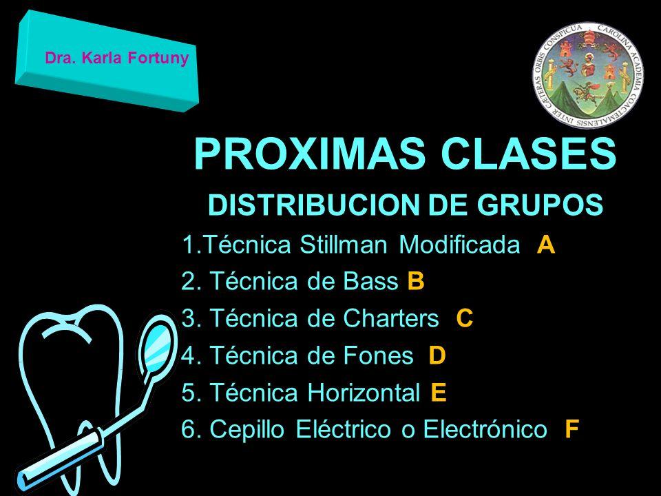 PROXIMAS CLASES DISTRIBUCION DE GRUPOS VIDEO DE LA TECNICA DE CEPILLADO ASIGNADA 1.LOGO DE LA UNIVERSIDAD Y DE LA FACULTAD 2.TECNICA 3.CREDITOS DEL GRUPO Dra.